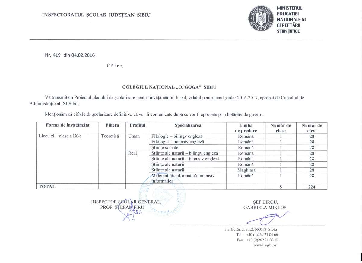 plan de scolarizare CNOG 2016-2017
